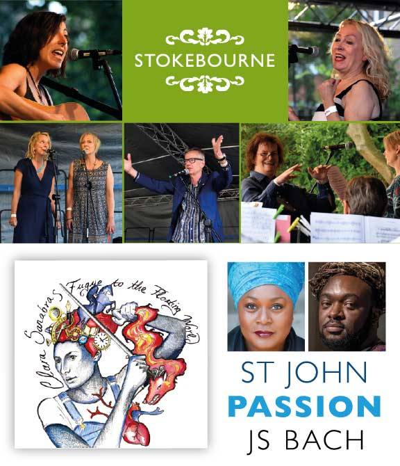 Dissenters N16 Summer News graphic with Stokebourne, St John Passion and Clara Sanabras