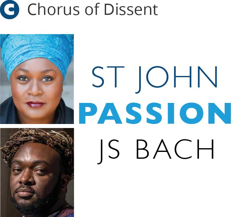 Jumoke Fashola plays the Evangelist in Chorus of Dissent's St John Passion